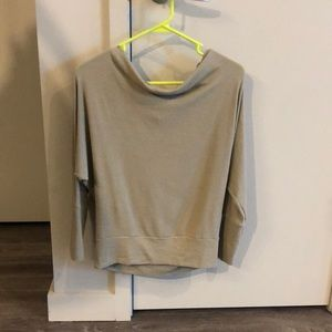 Sage green light weight off the shoulder sweater